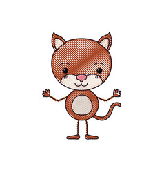 Color crayon silhouette caricature of cute cat vector