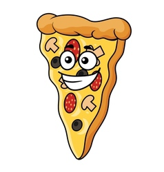 Cute slice of cartoon pizza vector image vector image