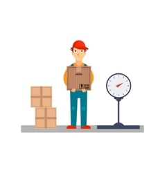Delivery Man with Boxes and Scales vector image