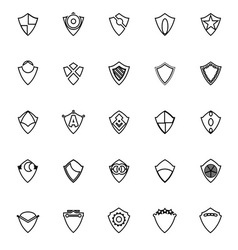 Design shield line icons on white background vector image