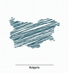 Doodle sketch of Bulgaria map vector image vector image