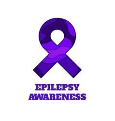 Epilepsy awareness papercut ribbon vector