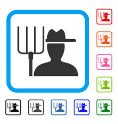 farmer with pitchfork framed icon vector image
