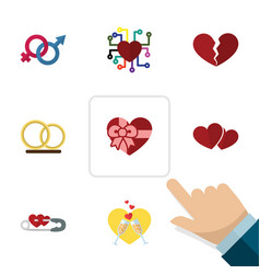 Flat icon love set of emotion ring divorce and vector