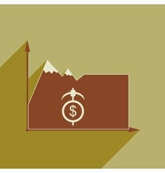 Flat web icon with long shadow mountain vector