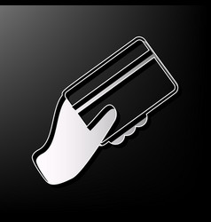 Hand holding a credit card gray 3d vector