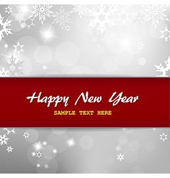 Happy New Year on silver background with snow vector image