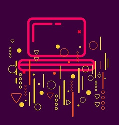 Laptop on abstract colorful geometric dark vector