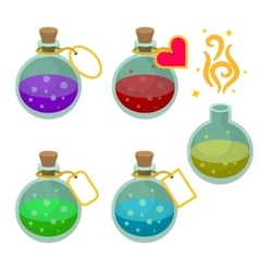 Magic potion bottles with tags vector image