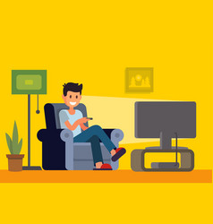 Man watching tv on sofa in home interior vector