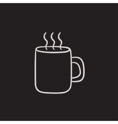 Mug of hot drink sketch icon vector image