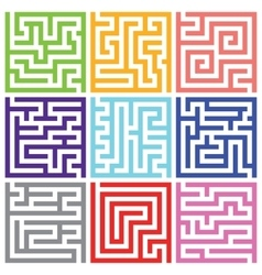 Nine colorful isolated maze pack vector image