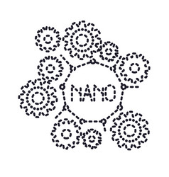 Set gear machinery with nano molecular structure vector