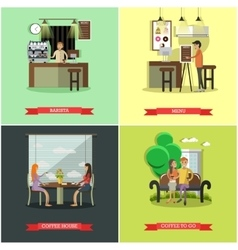 Set of coffee house concept design elements vector