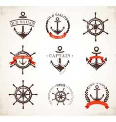 Set of vintage nautical icons and symbols vector