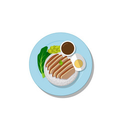 stewed pork leg on rice top view thai food vector image vector image