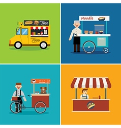 street food shop flat design vector image