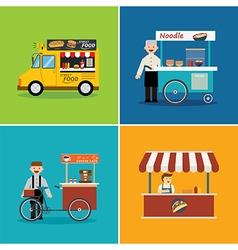 street food shop flat design vector image vector image