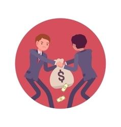 Struggle between businessmen for a sack of money vector
