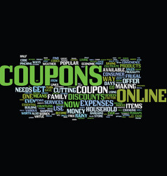 The joy of online coupons text background word vector