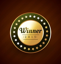 winer of the year goldeb label badge design with vector image