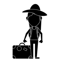 Woman traveling hat and suitcase pictogram vector