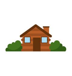 Wooden cabin house chimney camp bush exterior vector