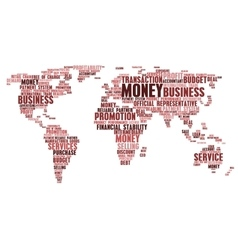 World map of business word cloud tags vector image