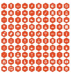100 family camping icons hexagon orange vector