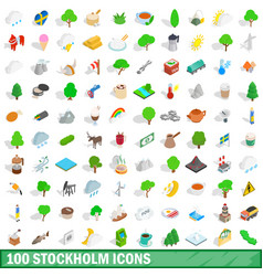 100 stockholm icons set isometric 3d style vector image vector image