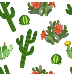 Seamless pattern with cactus and flowers - vector