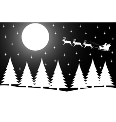 Christmas night in the winter forest vector image