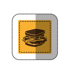 color emblem sticker sandwich icon vector image
