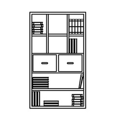 Bookcase library books furniture drawers handle vector