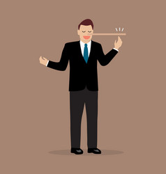 lying businessman with long nose vector image
