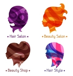 Women silhouettes emblems of beauty or vector