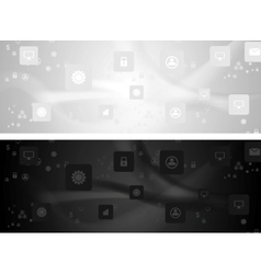 Grey and black social communication wavy banners vector image