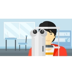 Patient visiting ophthalmologist vector