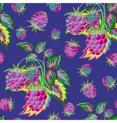 Hand painted pattern of bright colorful raspberry vector