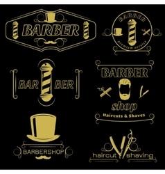 Barber Service Vintage Style Emblems vector image