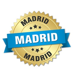 Madrid round golden badge with blue ribbon vector