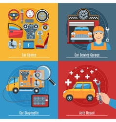 Colorful flat car service concept set vector