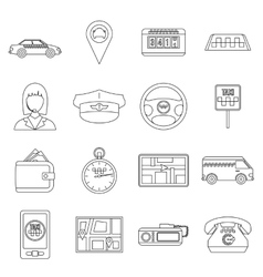 Taxi icons set outline style vector