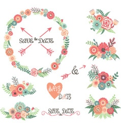 Wedding floral collections vector
