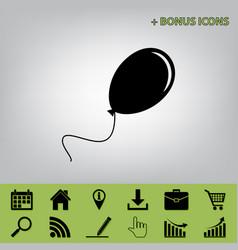 Balloon sign black icon at vector