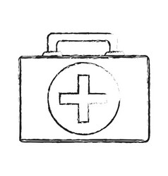 Black blurred silhouette cartoon first aid kit vector