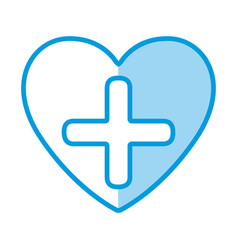 Blue shading silhouette heart health with cross vector