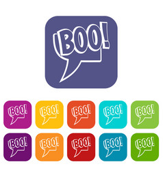 Boo comic text speech bubble icons set flat vector