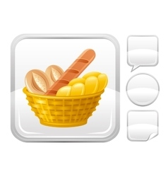 Bread basket icon on silver button vector