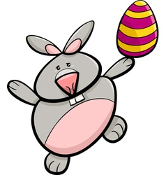 bunny with easter egg cartoon vector image